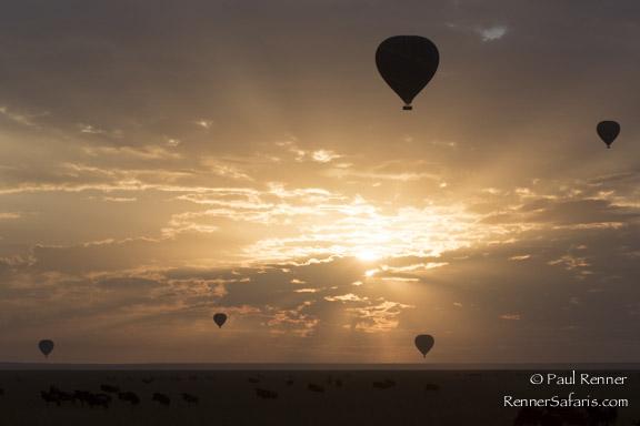Hot Air Ballons at Sunrise Over Masai Mara-3444