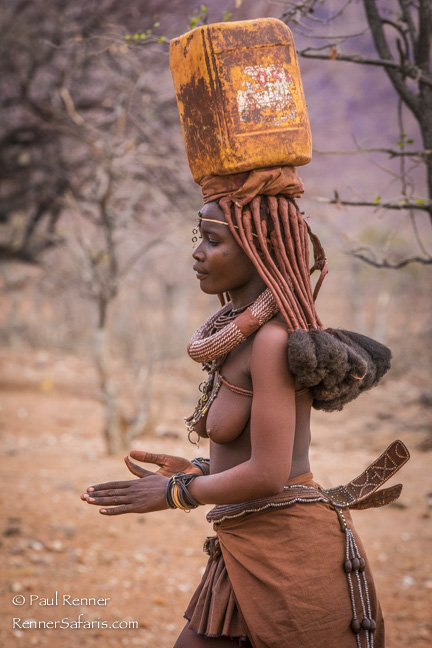 Himba Woman Carrying Water, Namibia-4712