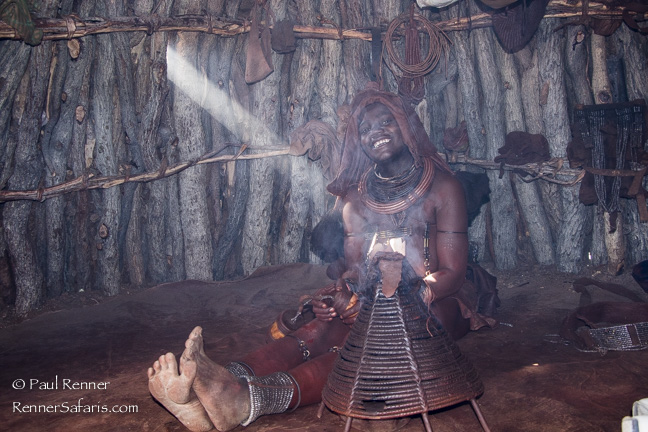 Himba Woman in Smokey Hut, Namibia-9858